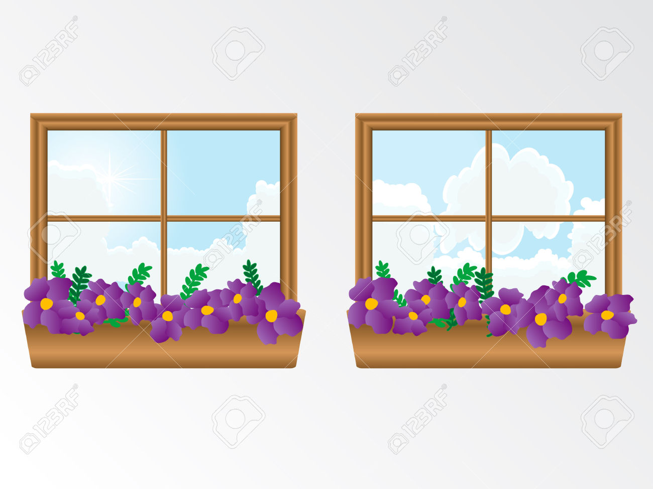 Window With Flowers Royalty Free Cliparts, Vectors, And Stock.