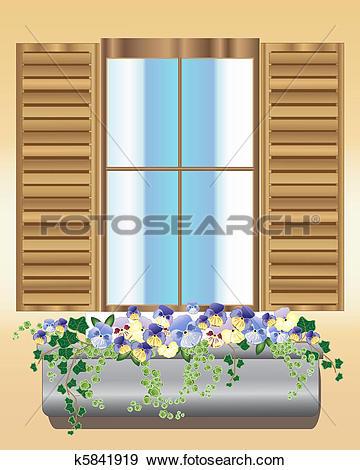 Clip Art of pansy window box k5841919.