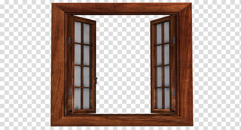 Windows ByunCamis, opened window with brown wooden frame.