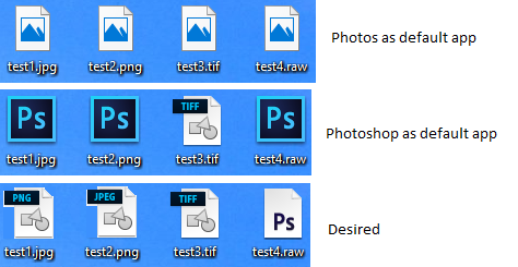 Changing icons for protected file extensions in Windows 10.