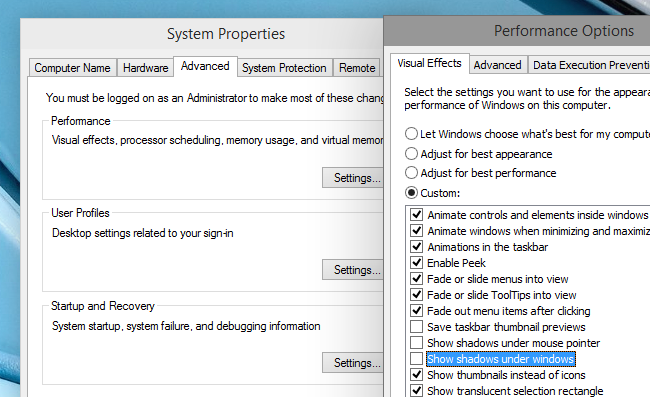 How to Disable the Drop Shadows in Windows 10.