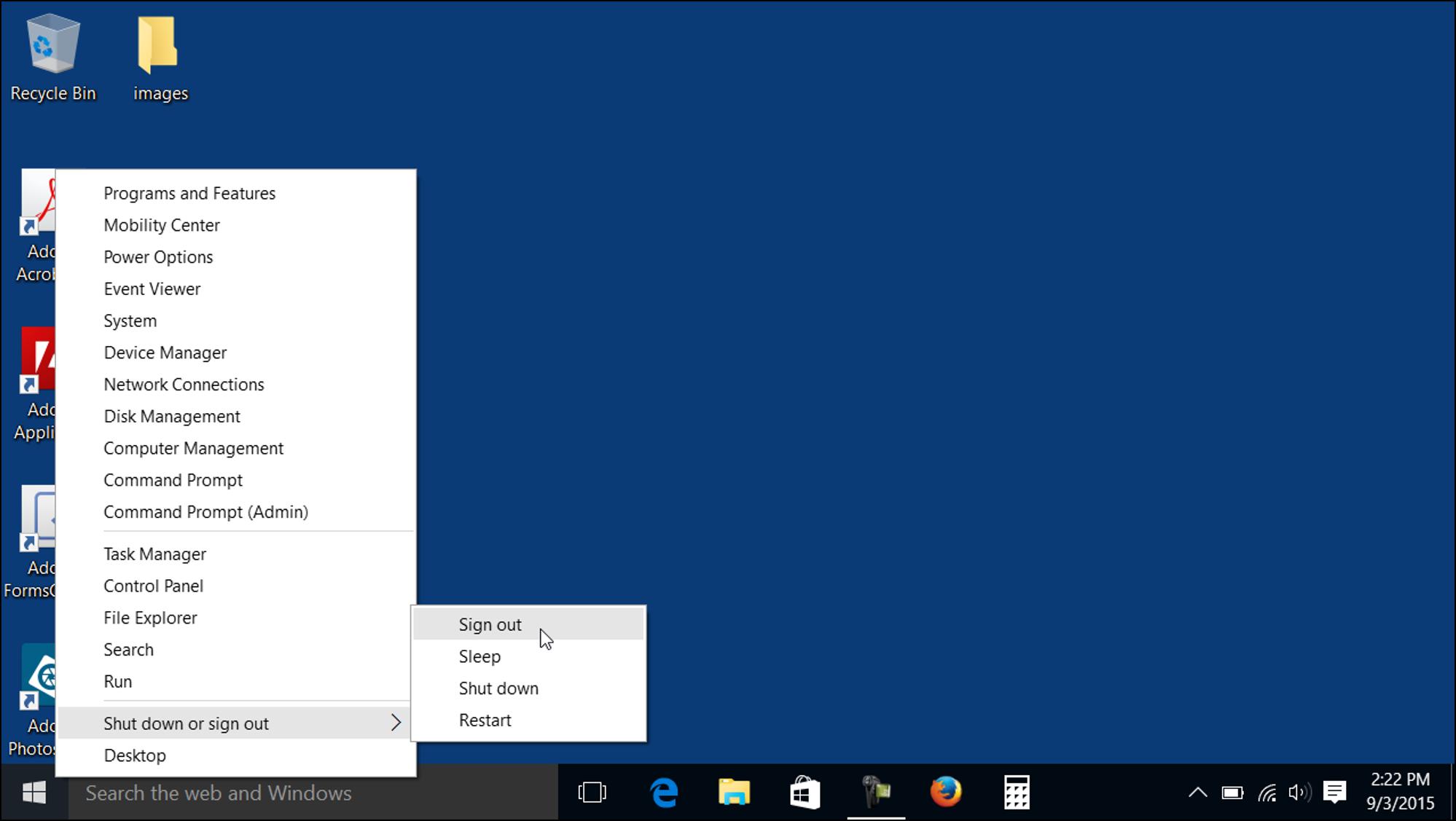 The Start Button in Windows 10.