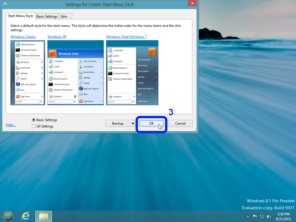 How To Return Start Button In Windows 8.1 Using Classic Shell.