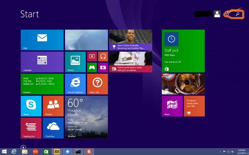 windows 8.1 start menu.