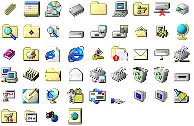 Windows 95 icons.