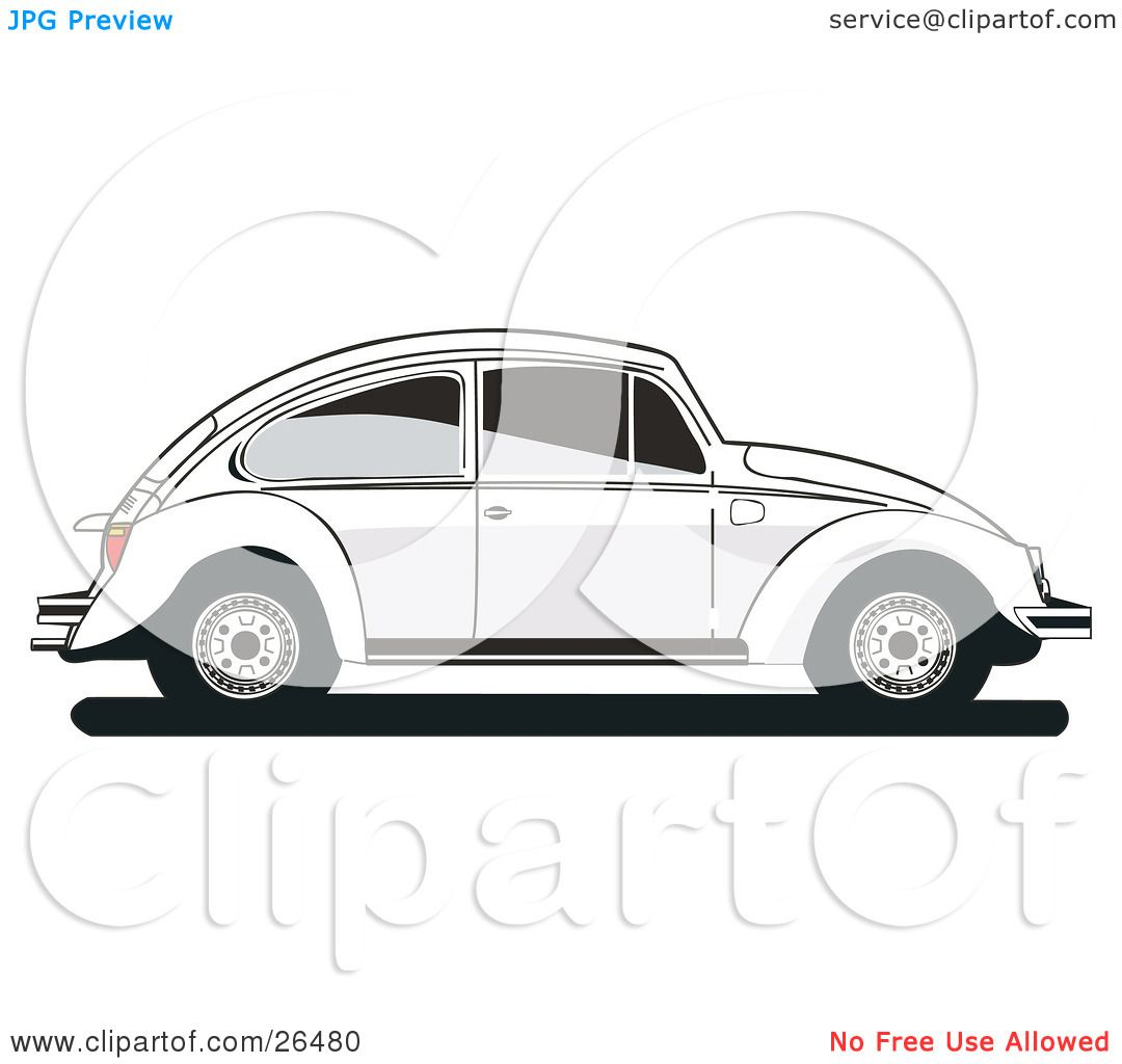 Clipart Illustration of a White Volkswagen Bug Car In Profile.