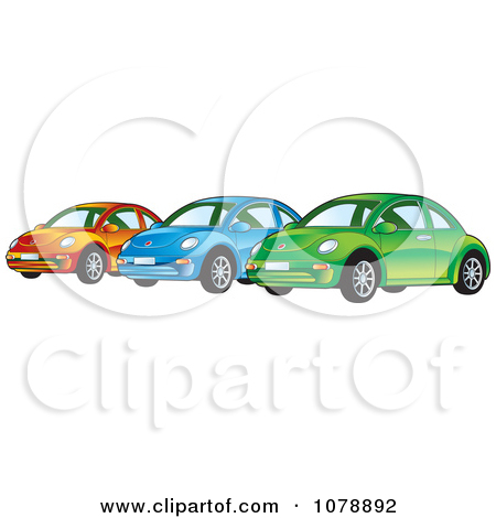 Clipart of a Vintage Red Vw Beetle Car with Tinted Windows.