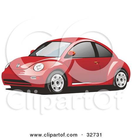 Clipart Illustration of a Red Yellow Slug Bug Car With Tinted.