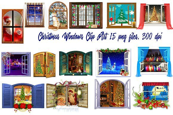 Christmas Windows Clip Art.
