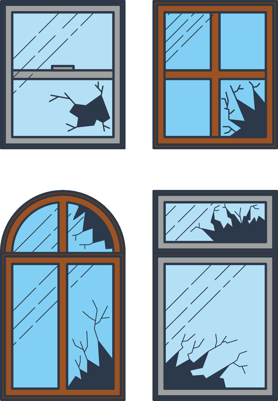 Broken Window Clip Art.