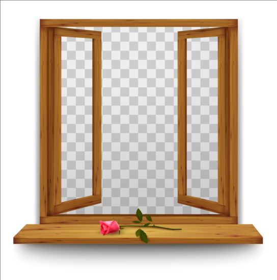 Open window with red rose and transparent background.