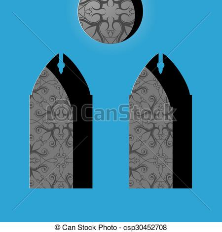 Vector Clipart of Church windows in simple cartoon drawing style.