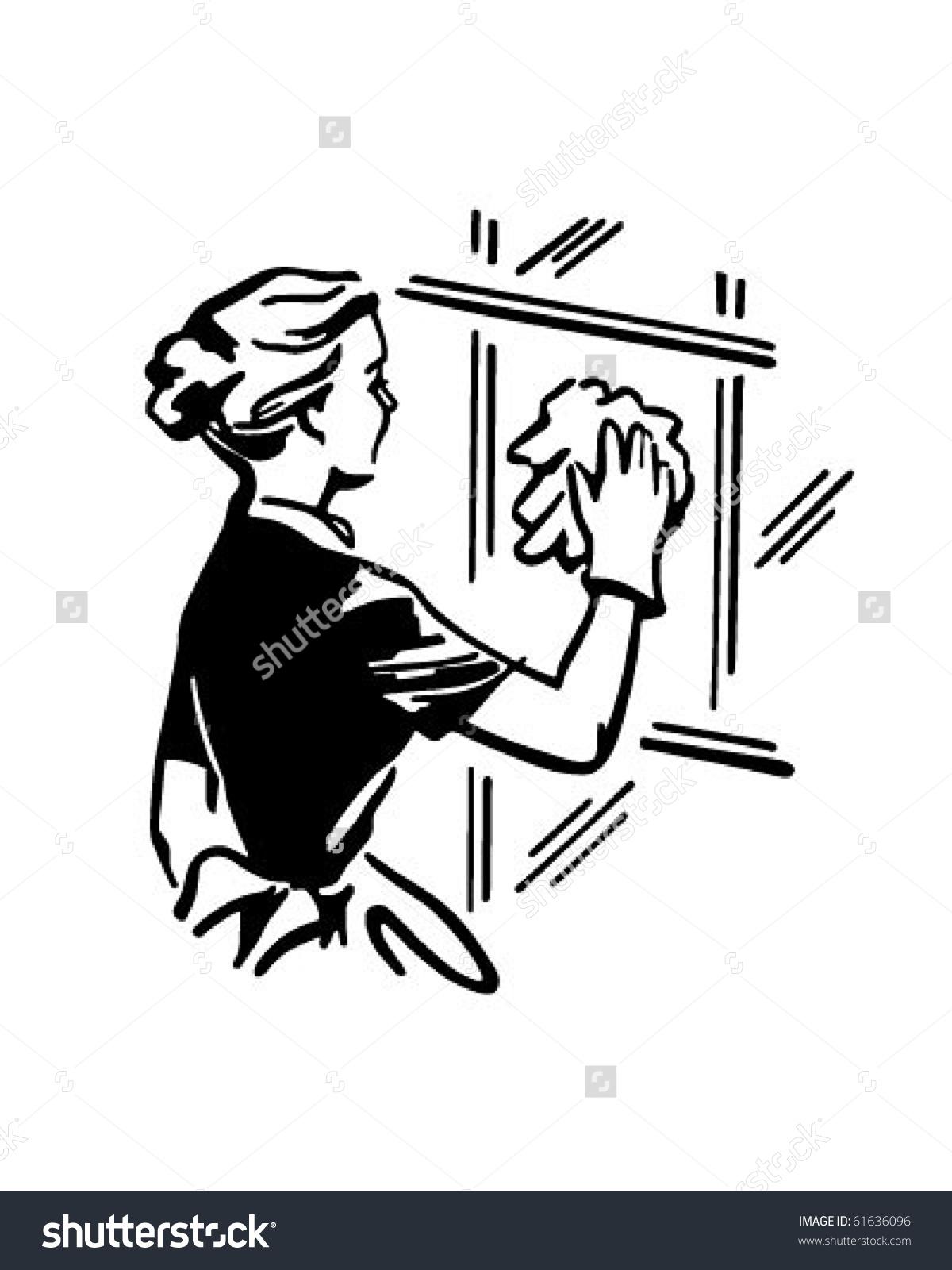 Woman Cleaning Window Retro Clip Art Stock Vector 61636096.