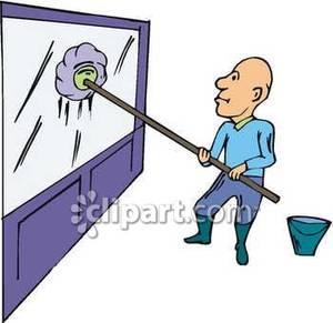 Man Washing Windows.