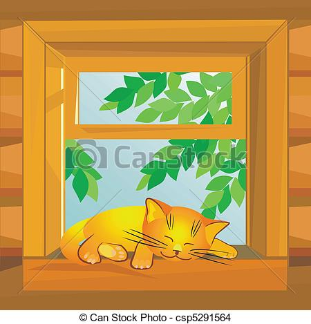 Vector Clipart of window and cat summer.