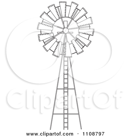 Clipart Illustration of a Black and White Wind Pump by Dennis.