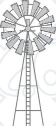 Clipart Illustration of a Black and White Wind Pump ~ CartoonsOf.com.