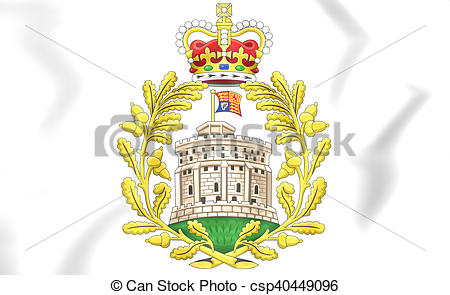 Stock Illustration of House of Windsor coat of arms. 3D.