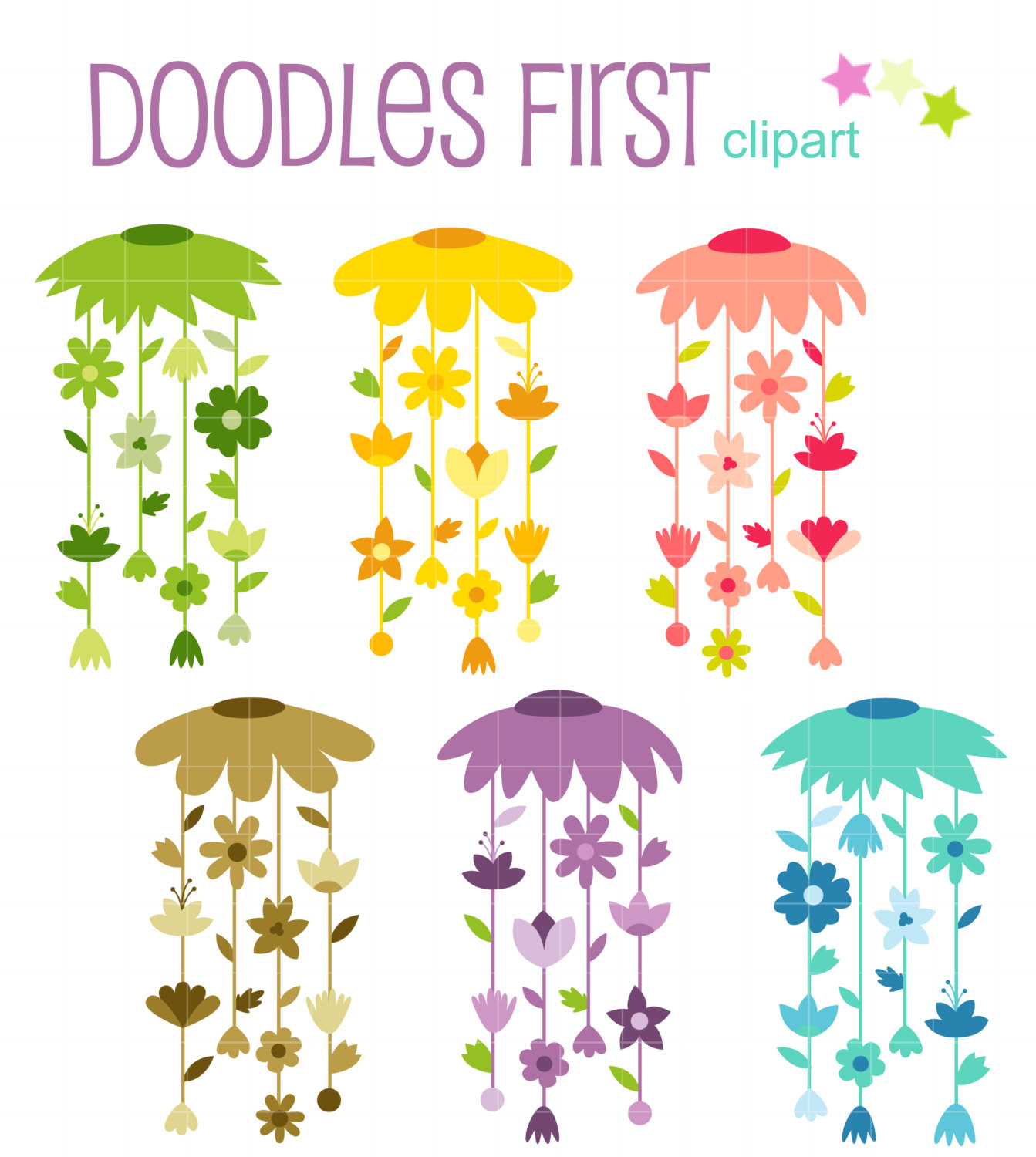 Floral Windspiel Digital ClipArt für Scrapbooking Card Making.