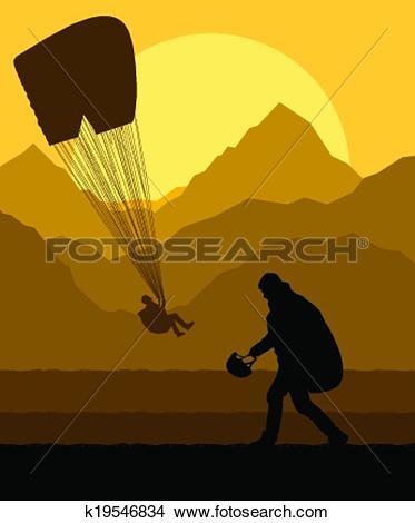 Clipart of Paragliding vector background landscape concept vector.