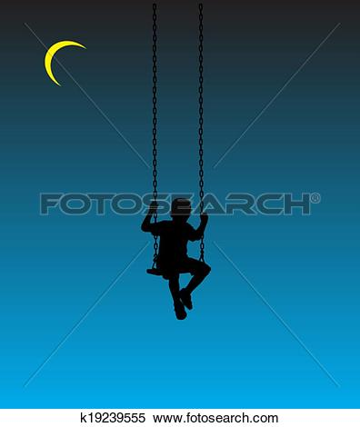 Clipart of boy on a swing at moon k19239555.