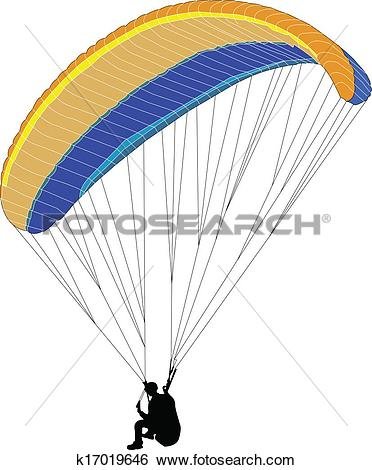 Clip Art of paraglider silhouette.