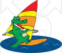 Clipart Illustration of a Green Crocodile Windsurfing ~ CartoonsOf.com.