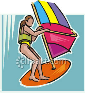 Woman Wearing a Life Jacket and Windsurfing Royalty Free Clipart.