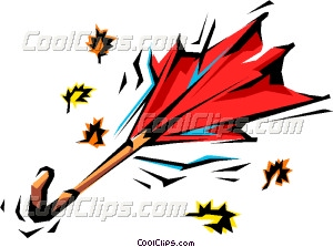 Wind swept umbrella and leaves Vector Clip art.