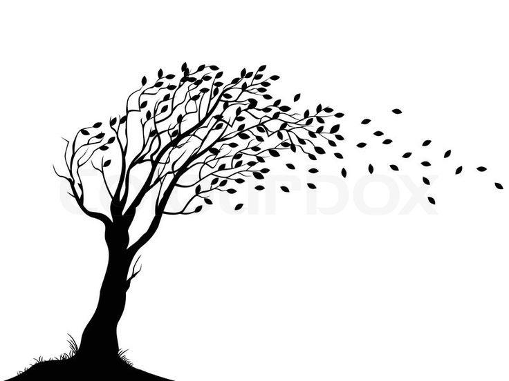 Autumn tree silhouette.