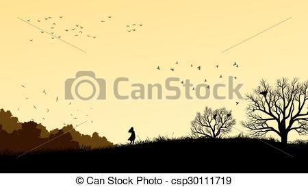 Vector Clip Art of Girl in field windswept..