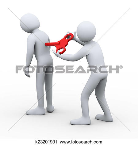 Clipart of 3d man with wind up key on back k23201931.