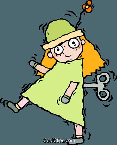 doll, wind up doll Royalty Free Vector Clip Art illustration.