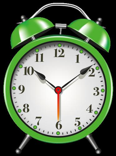Green Alarm Clock PNG Clip Art.