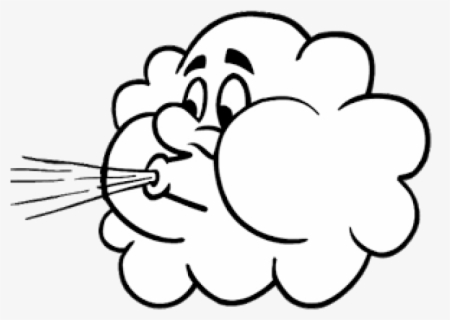 Free Wind Black And White Clip Art with No Background.