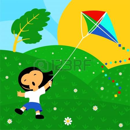 Windy Day Kite Clipart.