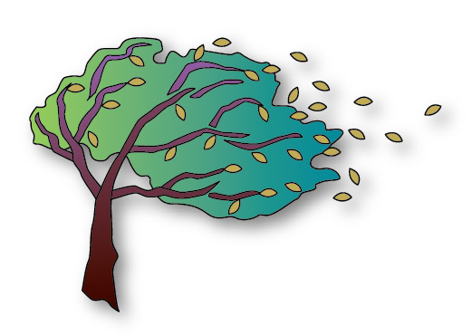 Windy March Day Clipart.