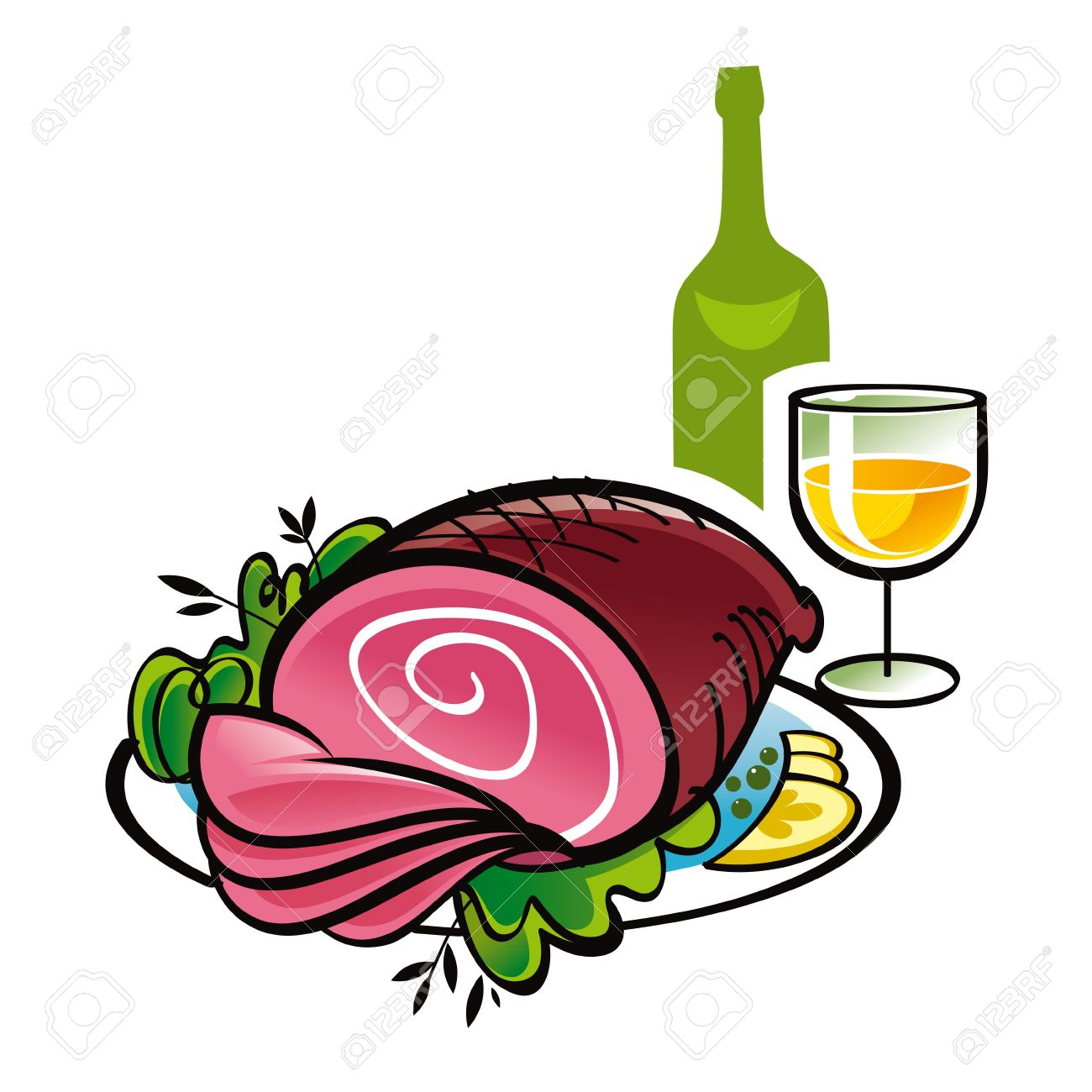 Food And Wine Clipart.