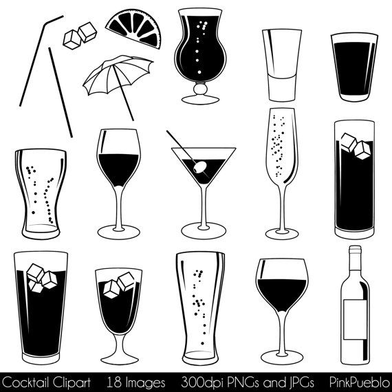 Cocktail Clipart Clip Art with Wine Beer Champagne by PinkPueblo.