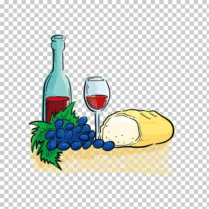 Wedding invitation Gift Hospitality , wine and bread PNG.
