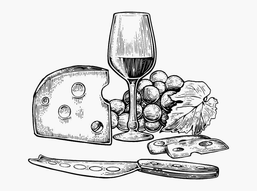 Wine And Cheese Png Black And White.