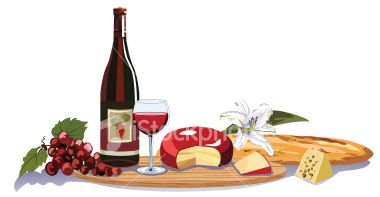 Assorted cheeses and wine on a cutting board. Perfect for your next.
