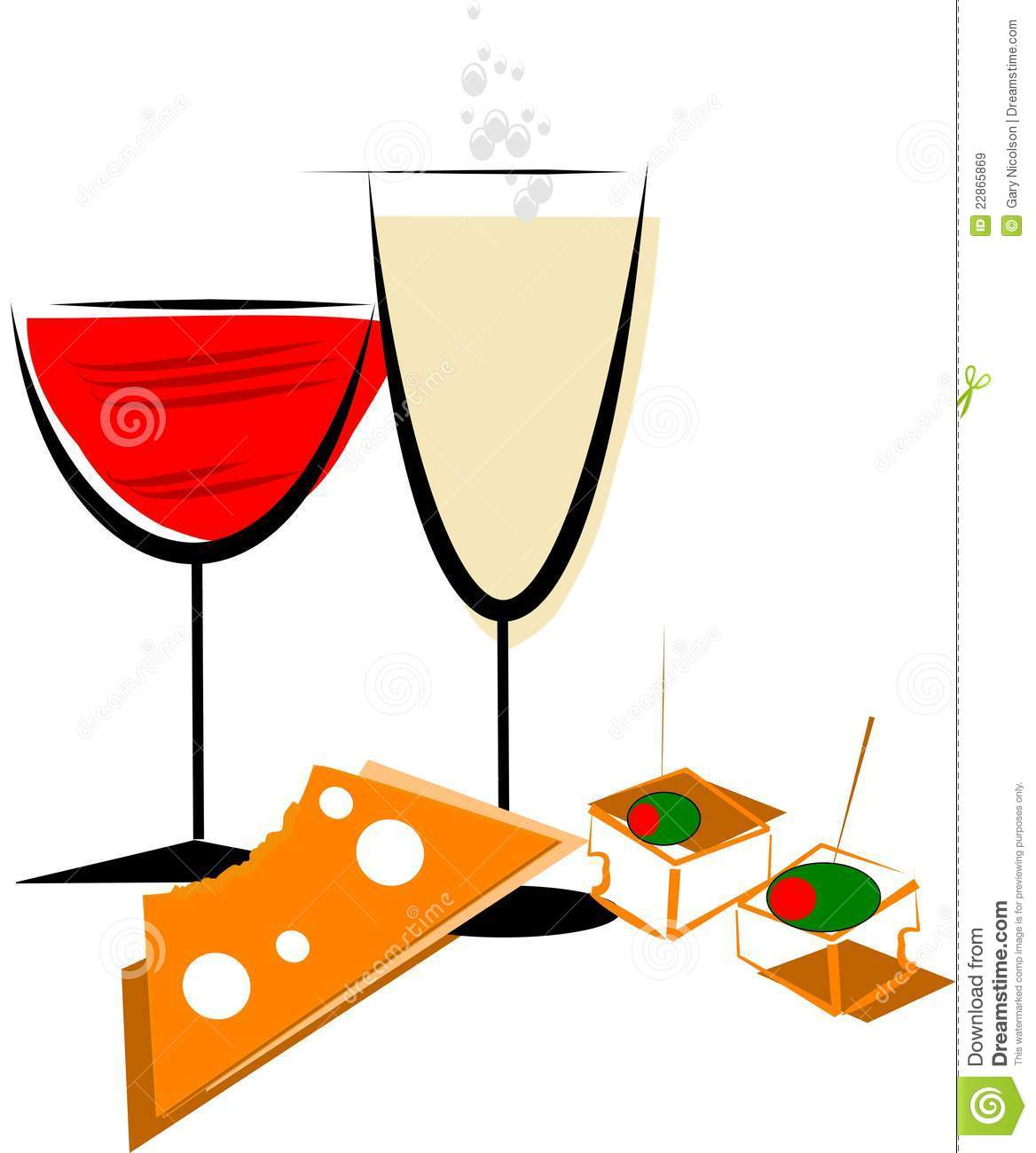 Wine and Cheese Party Clipart.