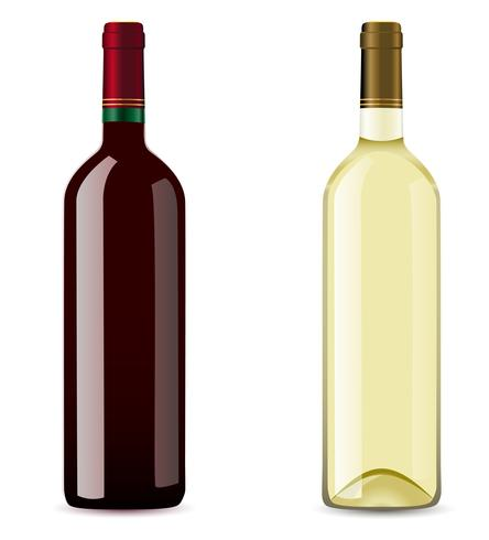bottle with red and white wine.