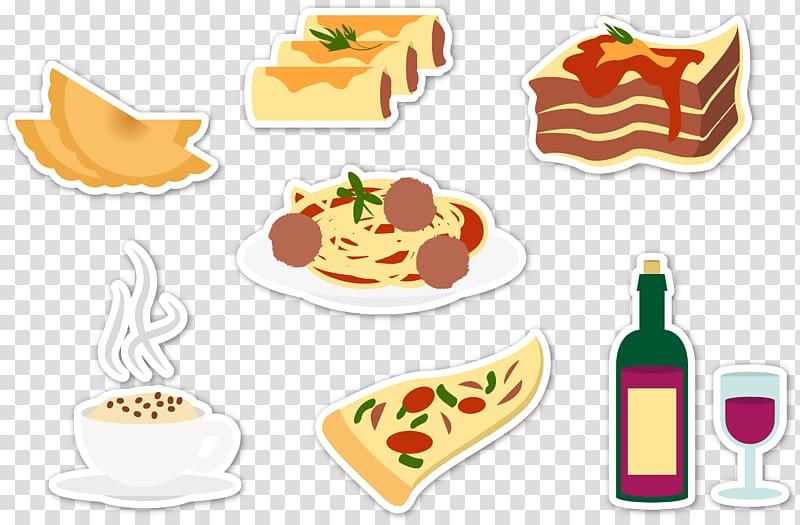 Italian cuisine Lasagne Illustration, Characteristic food.