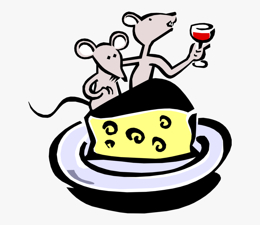 Vector Illustration Of Cartoon Mice Dining On Wine.
