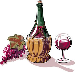 wine glass, fiasco and grapes Clipart Image.
