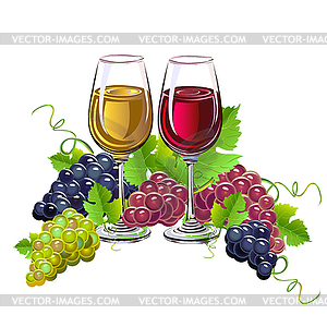 Glass of wine and grapes.