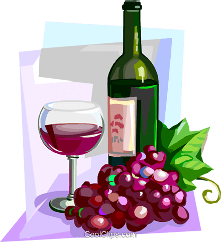 Wine Glass And Grapes Clipart.