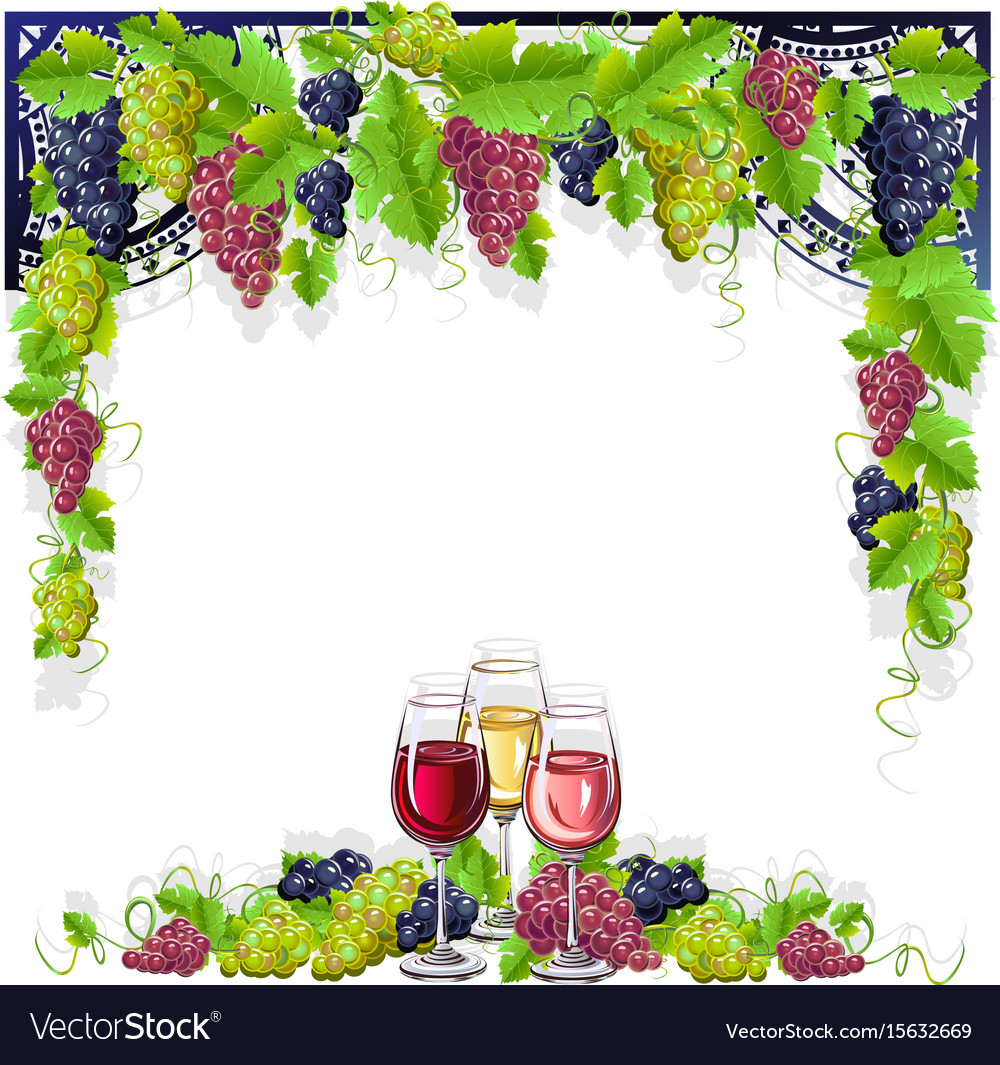 Vintage frame with wine and grapes.